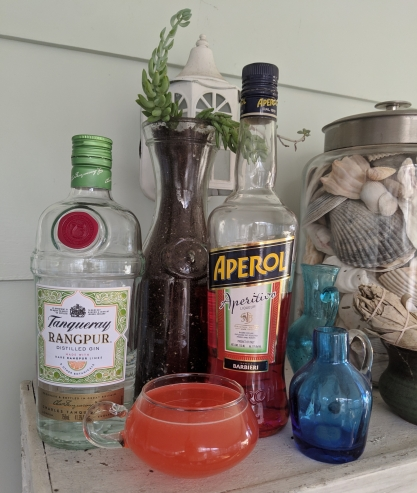 A bottle of Tanqueray Rangpur gin, Aperol, and a cocktail placed in front of a succulent arrangement.