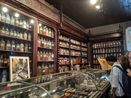 Bookcases of dried herbs and chemicals at the New Orleans Pharmacy Museum.