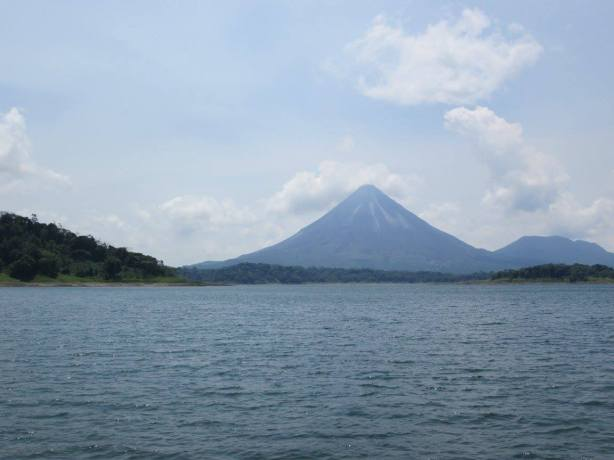 A photo of the Arenal Volcano in Costa Rica from across the lake.