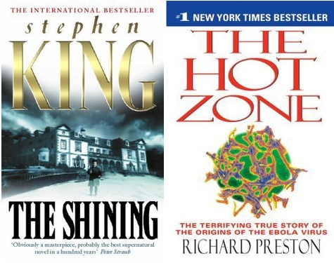 Book covers for the Hot Zone and The Shining.