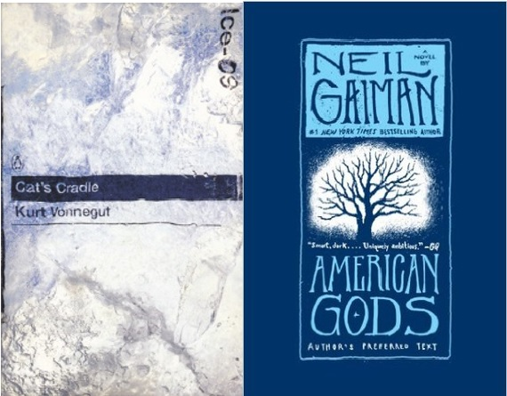 Book covers for Cat's Cradle and American Gods.