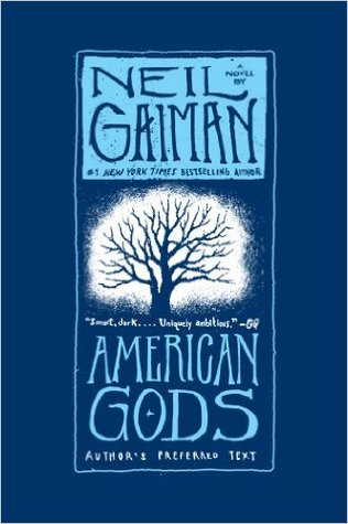Book cover for American Gods by Neil Gaiman.