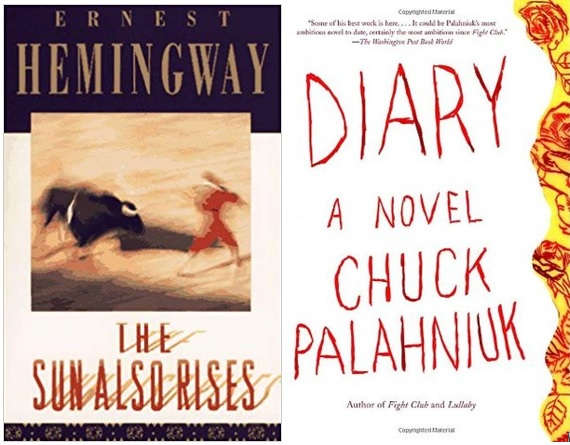 "Book covers for ""The Sun Also Rises"" by Ernest Hemingway and ""Diary"" by Chuck Palahniuk."