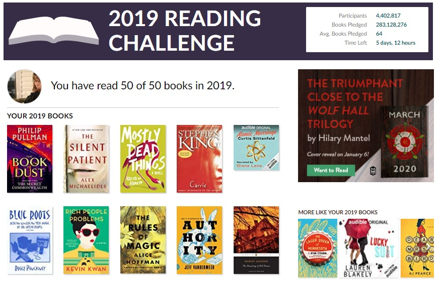 The list of books read from the Goodreads 2019 reading challenge.