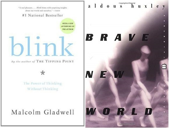 Book covers for Blink and Brave New World.